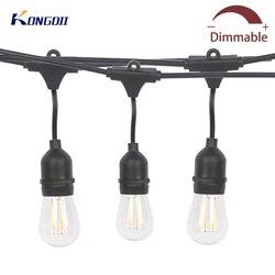 10 m/15 m LED al aire libre cadena luces colgantes resistente al agua S14 LED Patio luces globo cadena para fiesta en el Patio trasero de la calle