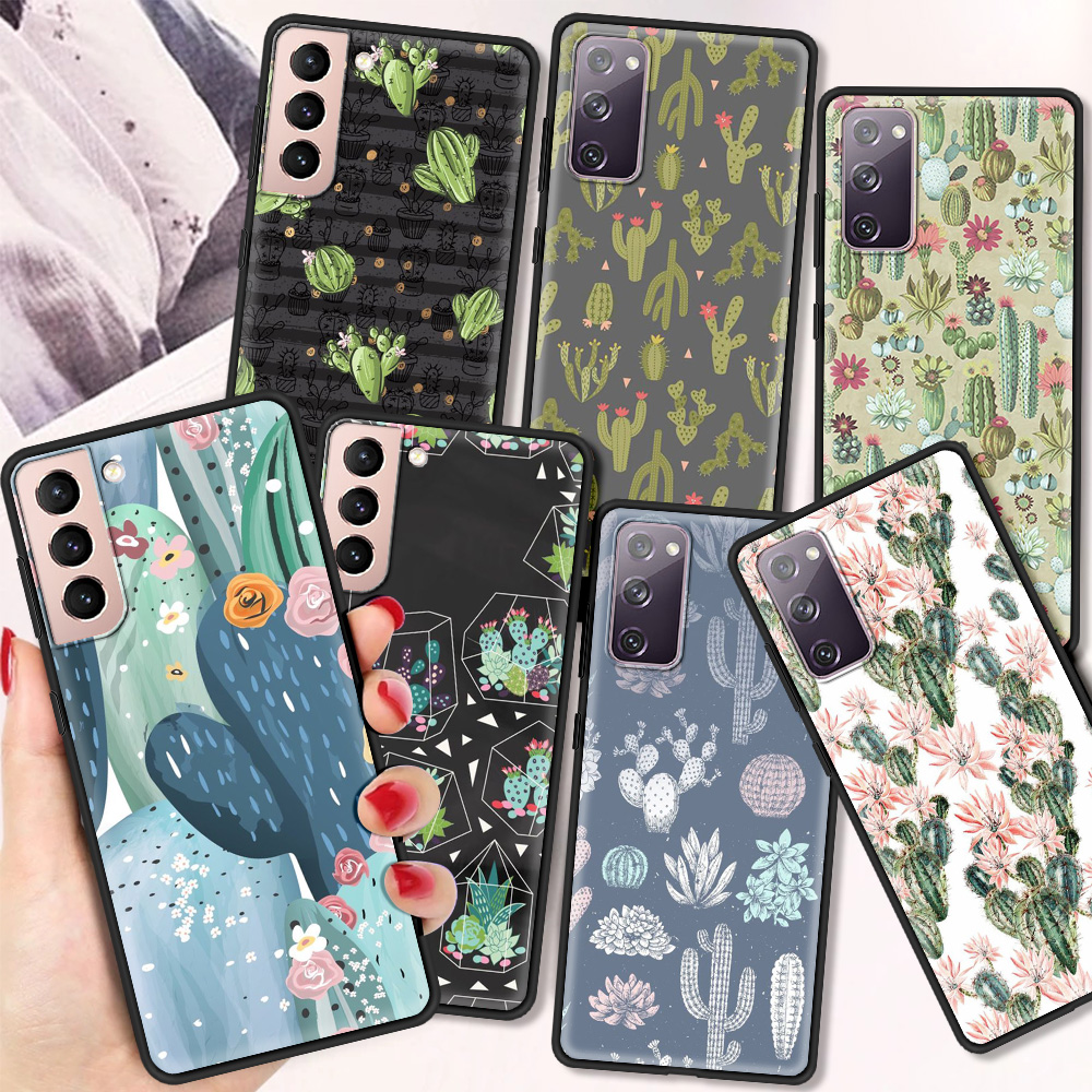 Cute Green Cactus Silicone Case For Samsung Galaxy S21 Ultra Plus Luxury Shell For Galaxy S20 Ultra S10 S9 S8 Plus 5G Cqoue