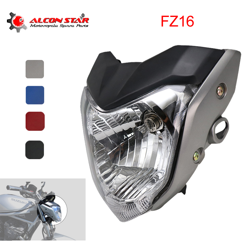 Alconstar- 4 Color Motorcycle Headlight Head light With Bulb Bracket Assembly fit for Yamaha FZ16 YS150 FZER150 Head lamp Light