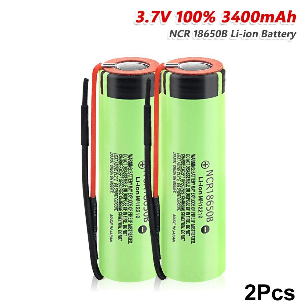 YCDC-batería de litio recargable para linterna, pila de ion de litio recargable de 18650 V y 3,7 mAh con cable Recargables, 3400 NCR18650B