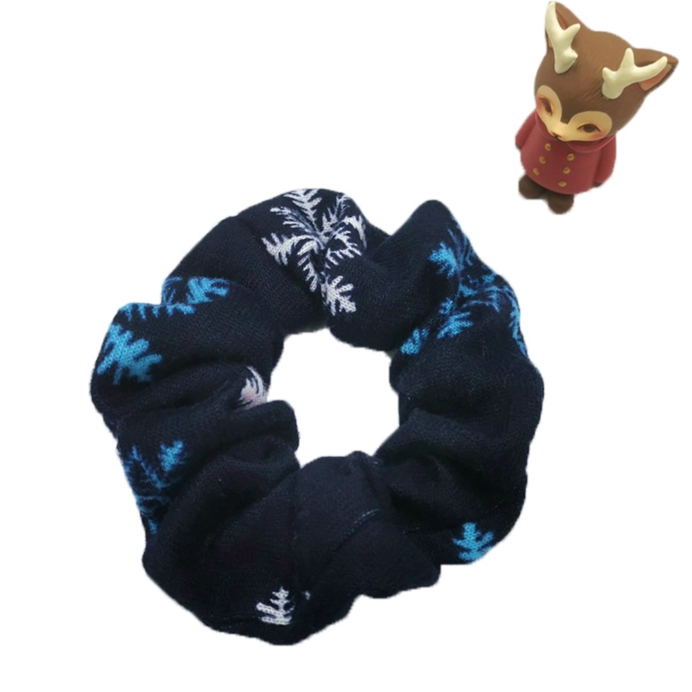 Christmas Scrunchies Snowflake Elastic Hair Bands For Women Cotton Headband Hair Rope Headpiece Hair Accessories Ornament Gift