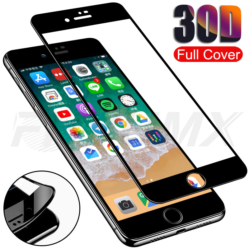 30D Full Cover Tempered Glass For iPhone 7 8 Plus Screen Protector Glass For iPhone 7 8 6 6S Plus soft edge Protective Film Case