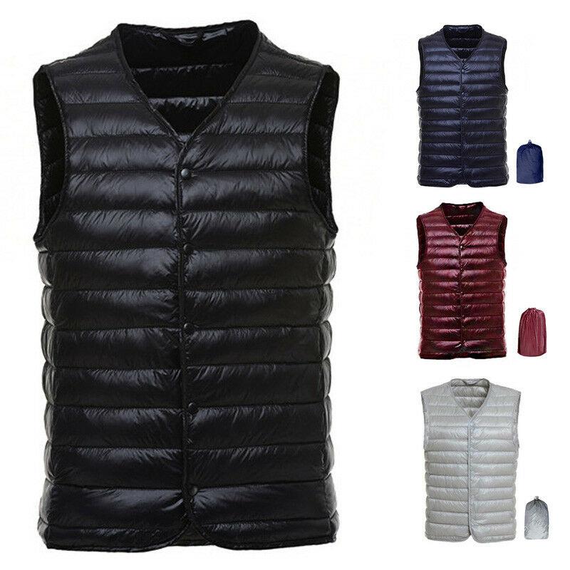 Men's Duck Down Fashion Vests Waistcoat Ultralight V-neck Warm Outerwear M~3XL