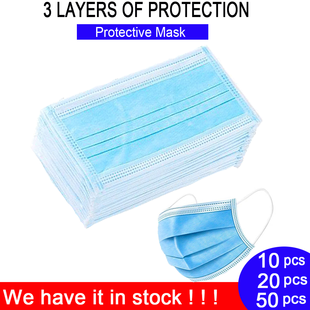 Disposable Face Mouth Mask   3 Layers Filter Dustproof Earloop Non Woven Fabric Fashion Health Protective Have It In Stock