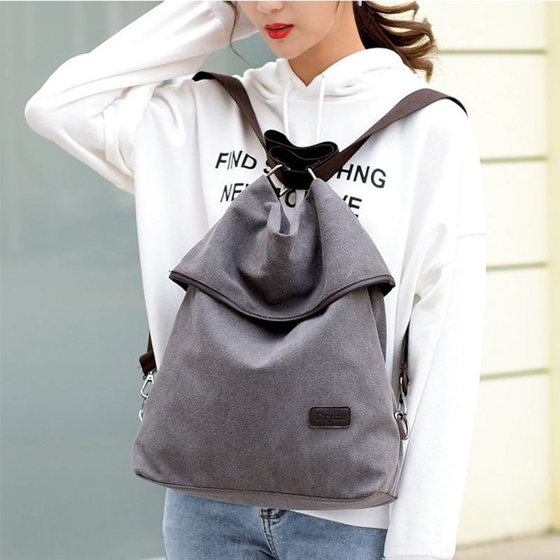 Canvas Vintage Women's Backpack Wild New Fashion Multifunctional Design Travel Backpacks Male School Bag Ladies Shoulder Bags