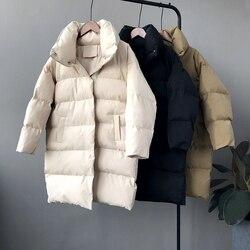 RICORIT, новинка 2019, зимняя куртка с капюшоном и длинным рукавом, одноцветная, с хлопковой подкладкой, теплая, свободная, длинная, пуховая куртка...