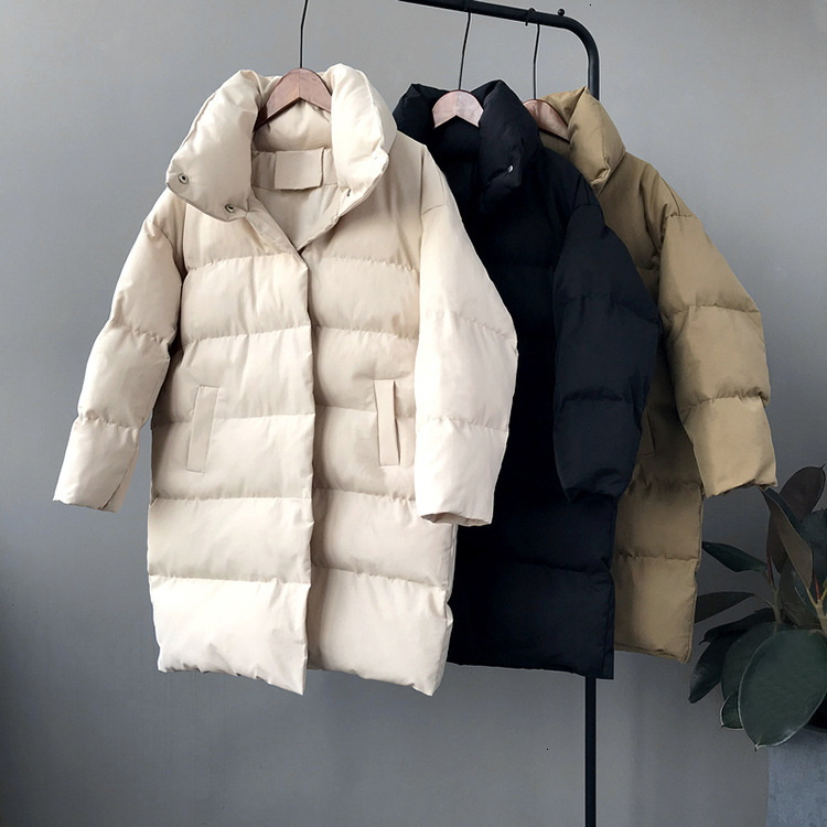 RICORIT 2019 New Winter Hooded Long Sleeve Solid Color Cotton-padded Warm Loose Long Puffer Jacket Women Parkas Coat