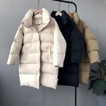 Ricorit 2020 Nieuwe Winter Hooded Lange Mouwen Effen Kleur Katoen Gewatteerde Warme Losse Lange Puffer Jas Vrouwen Parka Jas