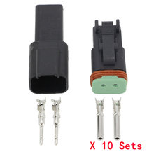 цена на Black 10 Sets Deutsch Connectors 2 Pin DT04-2P/DT06-2S Waterproof wire electrical connector plug  22-16AWG Automobile Connector