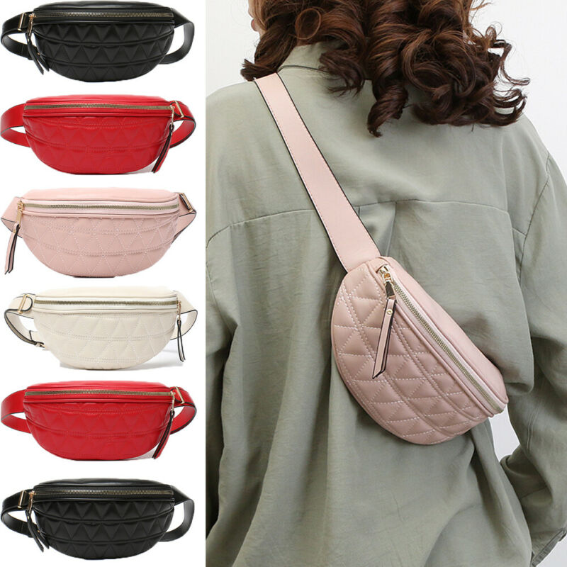 Retro Fashion Unisex Womens Men Waist Bag Fanny Pack PU Bag Belt Purse Small Purse Phone Key Pouch Red Black Waist Packs Gift
