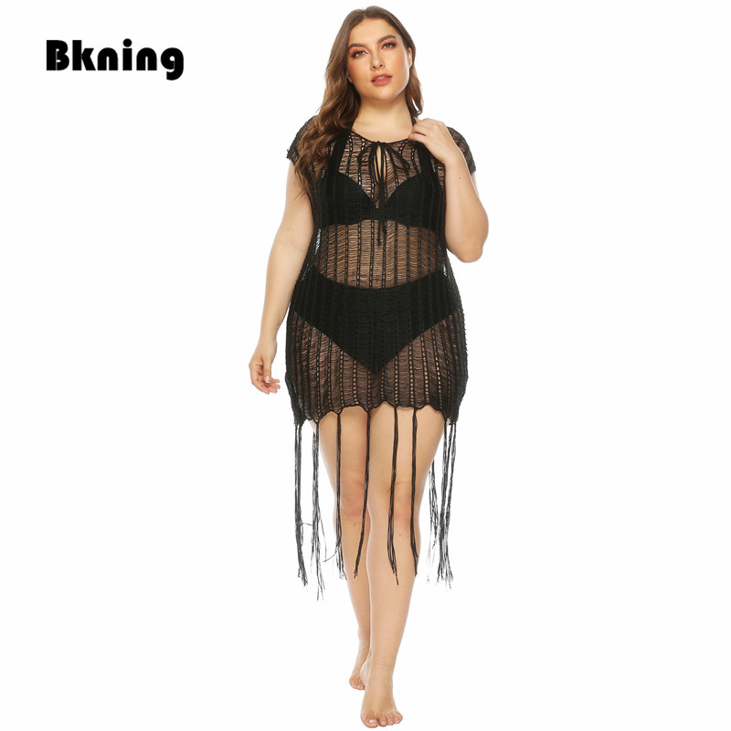Plus Size Beach Dresses For Women Black Cover Up Woman Knit Beachwear Coverup 2020 New Summer Bikini Cover-Up Tassel Hollow Out