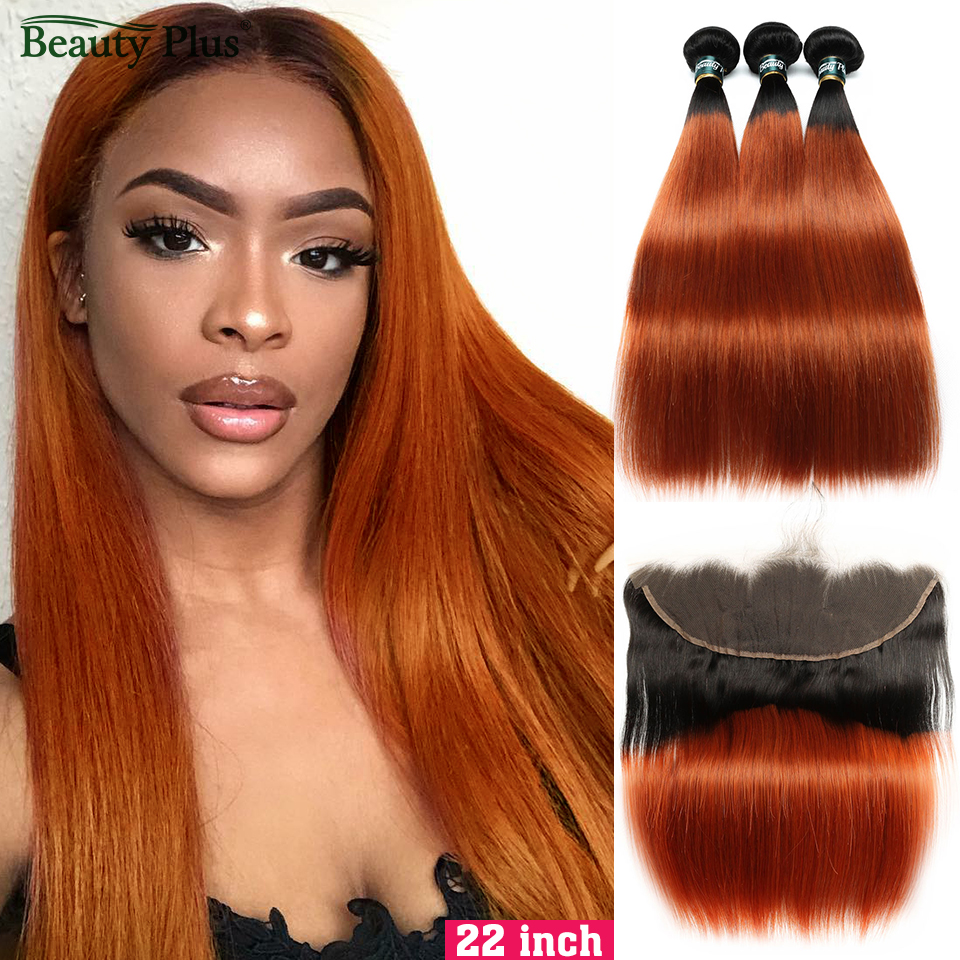 350 Orange Bundles With Frontal Baby Hair Beauty Plus Non-Remy 13x4 Lace Closures With Burnt Orange Brazilian Human Hair Bundles