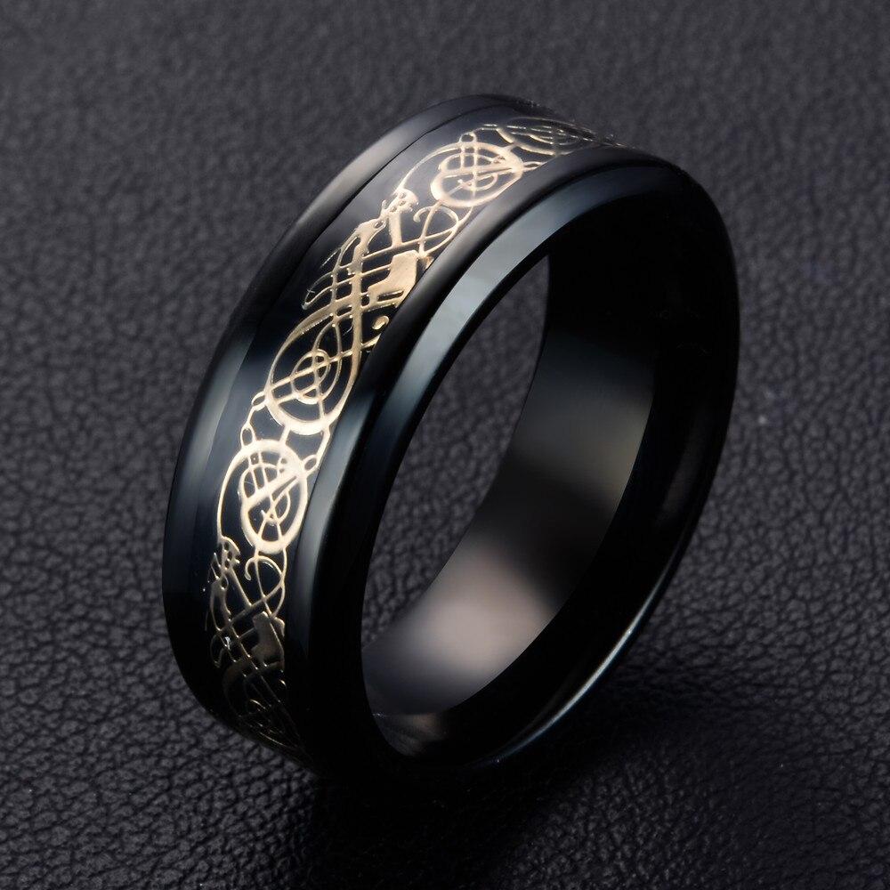 Black Silver 316L Stainless steel Ring Wedding Band blue Carbon Fiber Dragon rings for Men