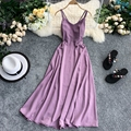 Женское праздничное длинное платье, однотонное пляжное платье на бретельках с открытой спиной и разрезом, фиолетовое платье для свинга, GD356