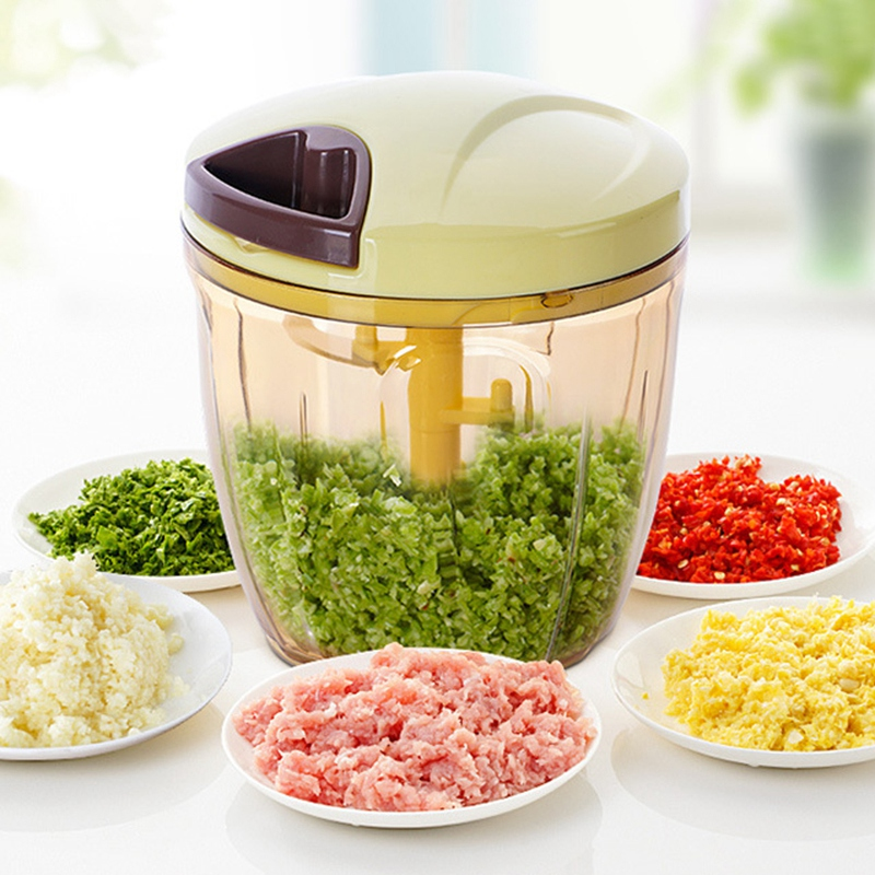 900ML Manual Meat Grinder Mincer Multifunction Food Processor For Meat Fruit Salsa Pepper Onion Nut Hand-Powered Chopper