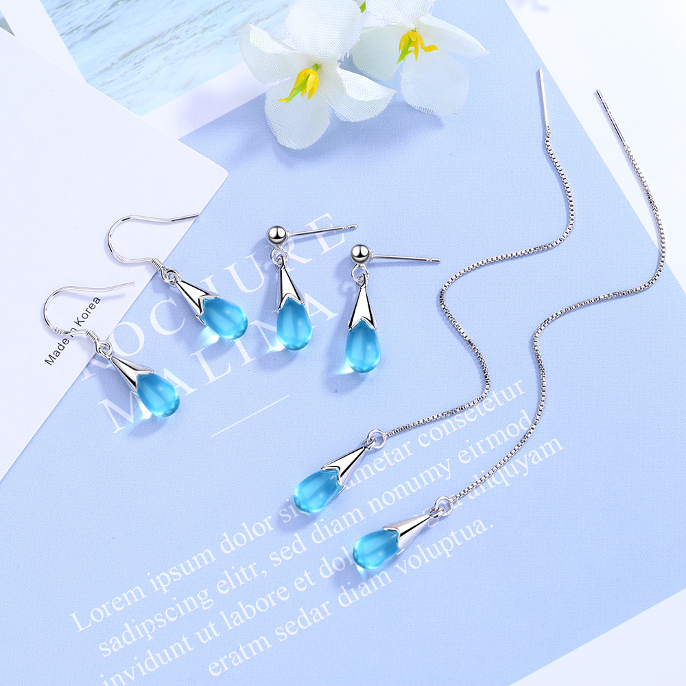 925 Sterling Silver Blue Crystal Drop Earring for Women Wedding Brincos Pendientes boucle d'oreille femme Dangle Earrings eh533