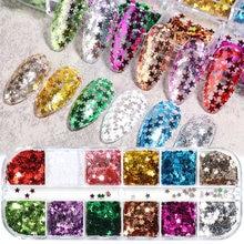 Mélange de paillettes 3D étoiles pour ongles, cœur doré, décorations Nail Art, bijoux de manucure de noël, TRCX