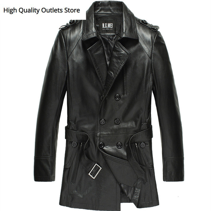 Cowhide Men Mid-length Cow Leather Outerwear Man Thin Slim Genuine Leather Trench 12-1011
