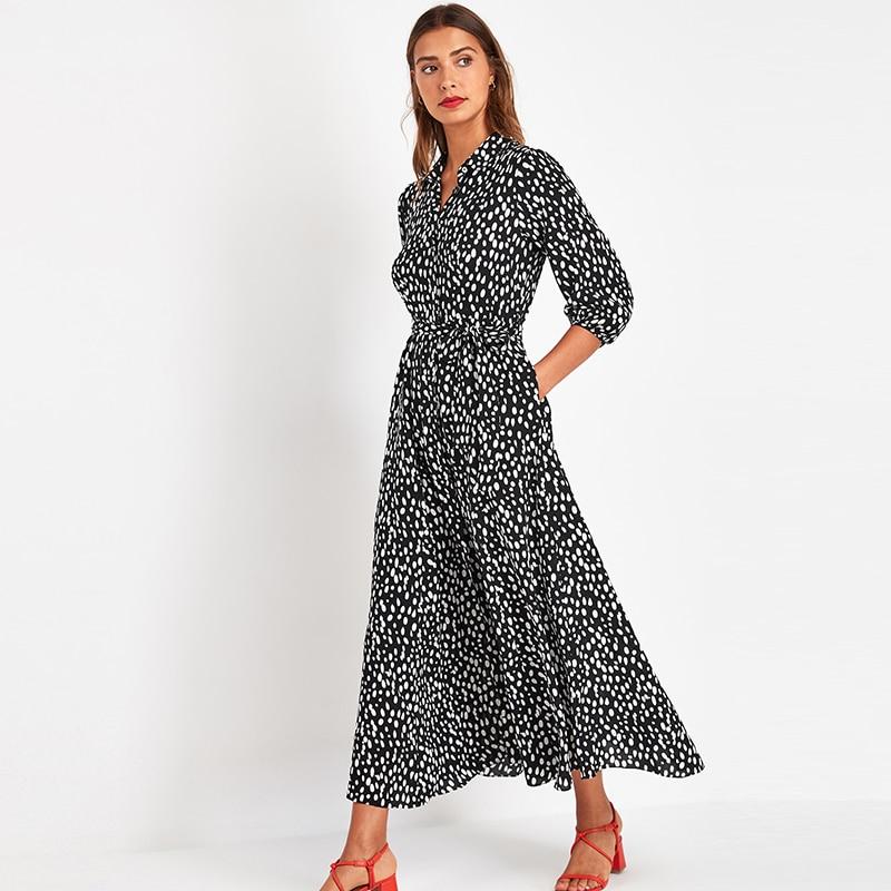 Vintage Floral Print Maxi Dress Women Boho Three Quarter Sleeve Long Sashes Dress Turn Down Collar Casual Shirt Dresses Robe 4
