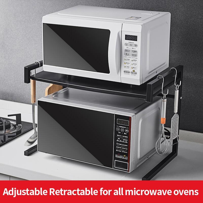 Family Good Helper Rack Oven Microwave Oven Shelf Spice Storage Storage Stainless Steel Double Floor Kitchen