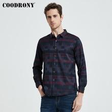 COODRONY erkek gömlek erkek yarı serbest gömlekleri 2020 yeni varış erkekler ünlü marka giyim ekose uzun kollu Camisa Masculina 712