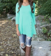 Women Mint T Shirt 2016 New Autumn Spring Plain Three Quater Sleeve Asymmetric Tunic Tops A Shape Navy Tee Shirts With Button plus size monochrome asymmetric tunic tee