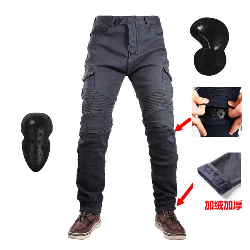 UGB06 Windproof Winter Warmer Motorcycle Plus velvet Jeans Trousers Casual Men s Motorbike Pants Motocross Road Knee Protective