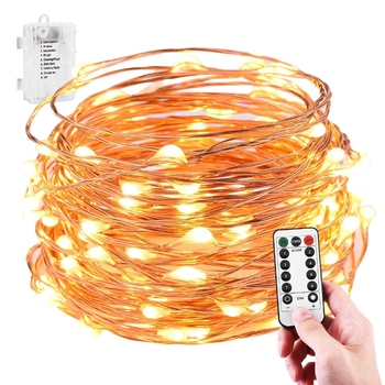 Fairy Lights Battery Operated 10M 100LED Remote Control Twinkle String 8 Modes Copper Wire Firefly