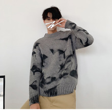 Men's sweater 2019 autumn and winter new loose couple tie dyed thick student sweater shirt youth fashion v trend men's clothing