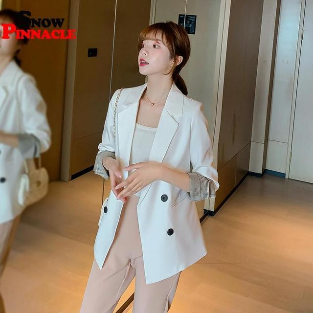 Women Blazer Autumn Casual double botton Women Blazer Pockets Jackets Female Retro Suits Coat Feminino blazers 5