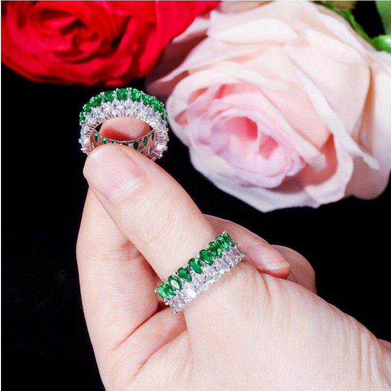Rulalei tout nouveau bijoux de luxe uniques 925 en argent Sterling Double goutte d'eau AAAAA cubique zircone éternité femmes bague de mariage - 6