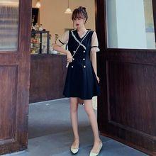 Женское винтажное платье трапеция черное повседневное мини с