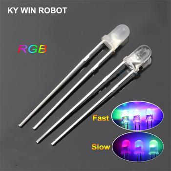 20pcs/lot F3 3mm Fast/Slow RGB Flash Red Green Blue Rainbow Multi Color Light Emitting Diode Round LED Full DIY - discount item  6% OFF Active Components