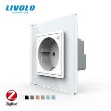 Livolo האיחוד האירופי תקן חדש חכם Wifi כוח שקע, קריסטל זכוכית פנל, smartphone 16A קיר שקע חשמל, wifi app,aleax,googel בית