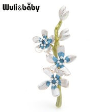 Wuli&baby Red Blue Enamel Cherry Blossom Flower Brooches Women Men Alloy Plum Peach Flowers Wedding Brooch Pins