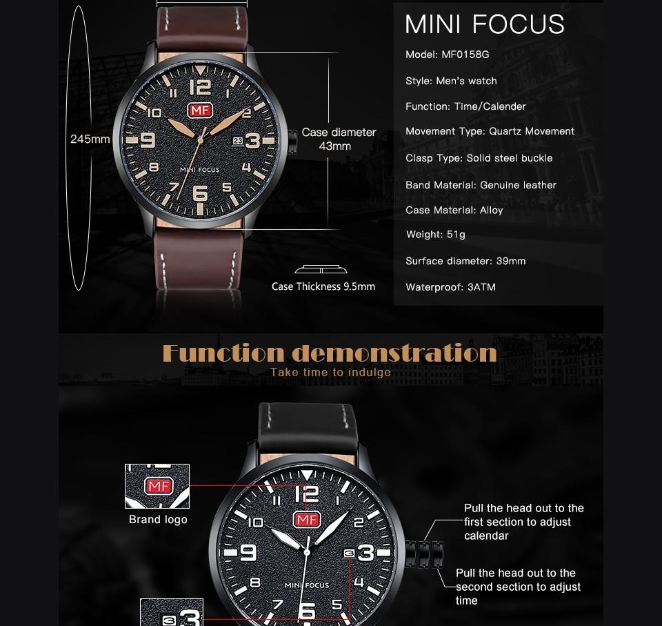 H3e2645bb45c74e35b8e09d04a48314570 MINI FOCUS Luxury Brand Men's Wristwatch Quartz Wrist Watch Men Waterproof Brown Leather Strap Fashion Watches Relogio Masculino