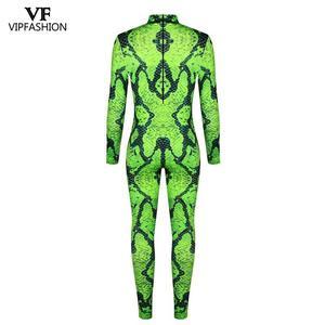 Image 5 - VIP אופנה 2019 ליל כל הקדושים Cosplay תלבושות לגברים נמר 3D הדפסת בעלי החיים מערער נחש שרירים בגד גוף סרבלי