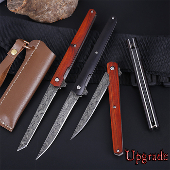 M390 Folding Knife Upgrade Damascus Pattern CS Go Fold Knives Camping Hunting Slicing Fruit Knife Outdoor EDC Tool With Holster