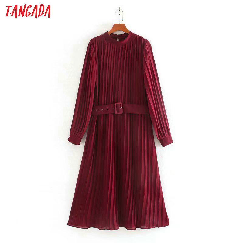 Tangada Fashion Women Red Pleated Dress With Slash 2020 New Arrival Long Sleeve Ladies Elegant Midi Dress Vestidos CE225
