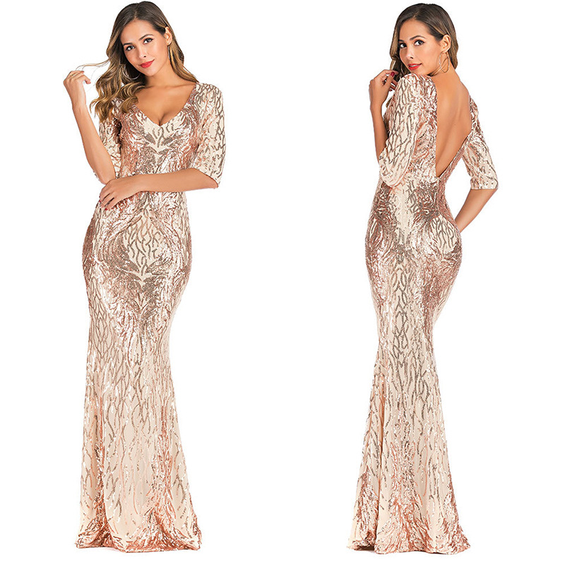 V Neck Half Sleeves Glitter Evening Gown Formal Pageant Dress Long Party      - AliExpress