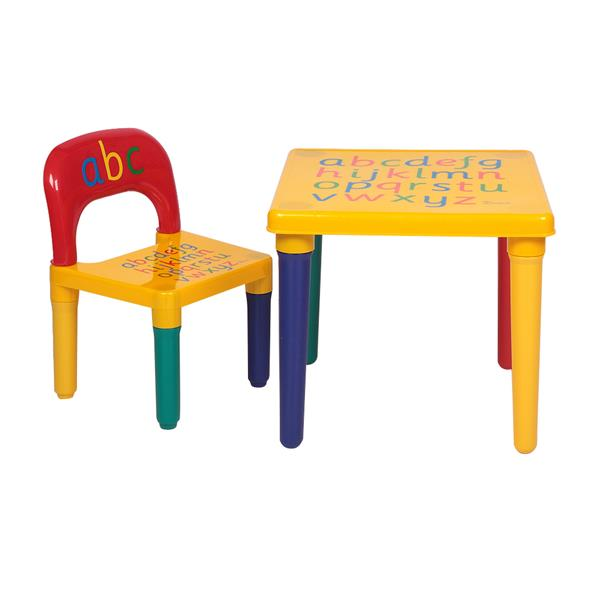 Children Letter Table Chair Set Yellow & Red Made Of High Quality Plastic Material Kids Furniture Kids Table And Chair