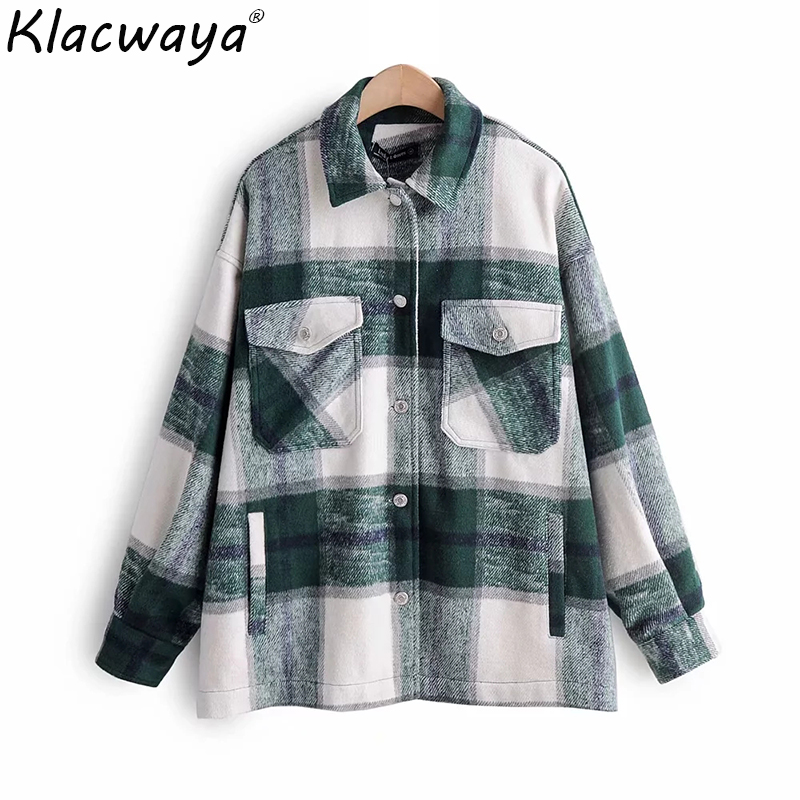 New vintage women oversize thick   shirts   2019 fashion ladies loose green plaid   shirt   female woolen long   blouses   girls chic tops