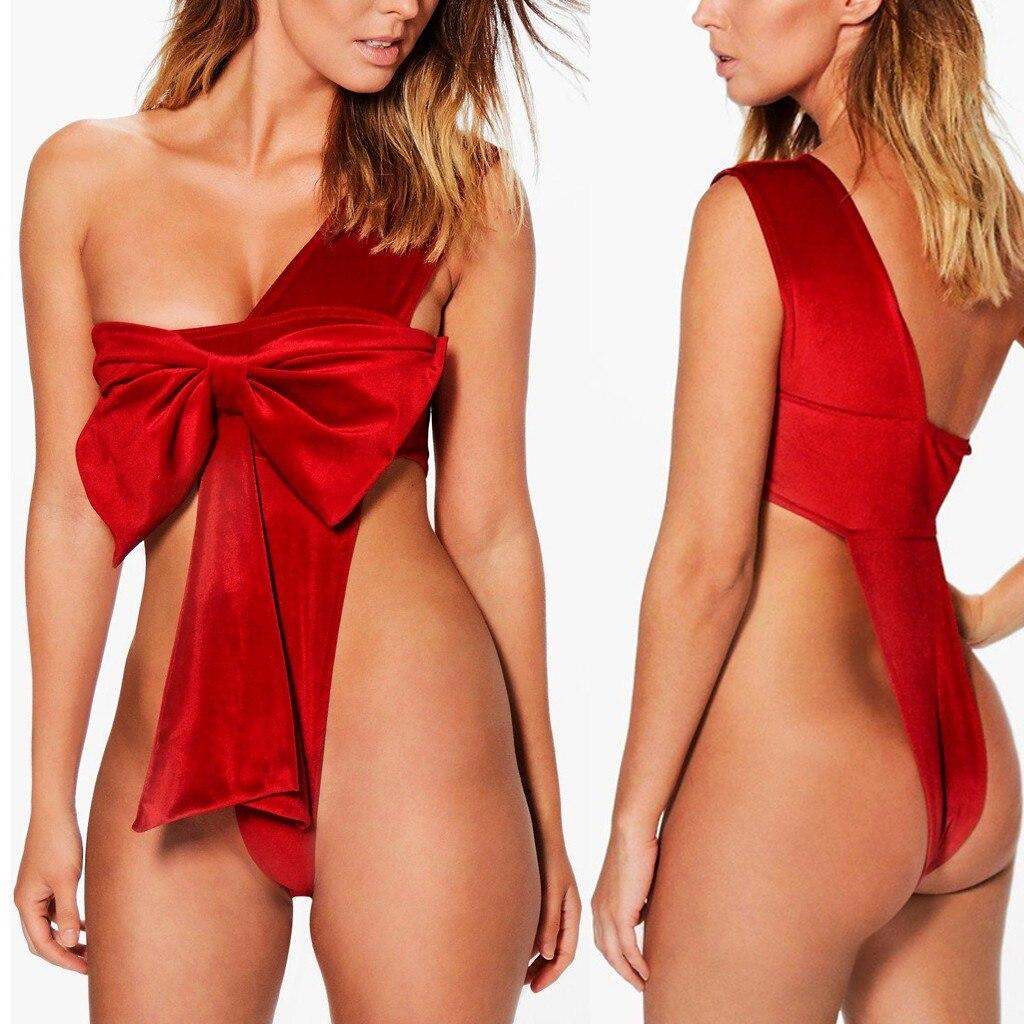 Женский замшевый комбидресс размера плюс, сексуальное красное нижнее белье с открытой спиной и бантиком, для рождественских праздников, #2|Комплекты нижнего белья|   | АлиЭкспресс