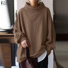 Stilvolle frauen Rollkragen Sweatshirts 2021 ZANZEA Herbst Hoodies Feste Beiläufige Puff Hülse Pullover Weibliche Solide Tunika Plus Größe