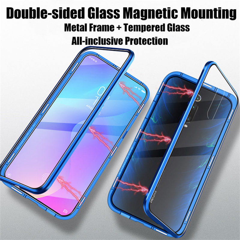 Double Sided Tempered Glass Phone Case for <font><b>Xiaomi</b></font> <font><b>Mi</b></font> <font><b>A3</b></font> A3Pro A3Lite Magnetic Adsorption Metal Phone Back <font><b>Cover</b></font> MiA3 Pro Lite image