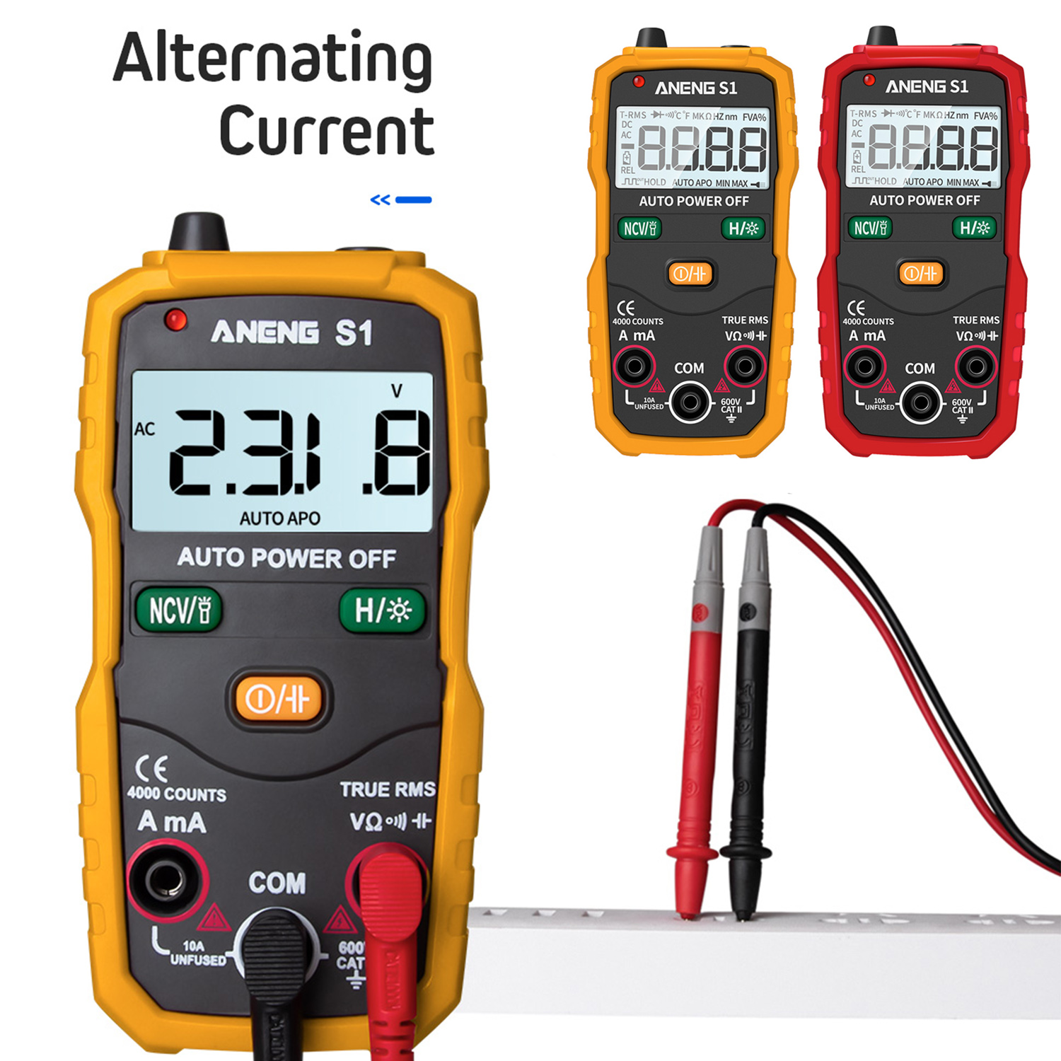 Hand-held Digital Multimeter Auto Range True RMS Digital Multimeter AC\\\/DC Current Voltage Ohm Continuity Tester