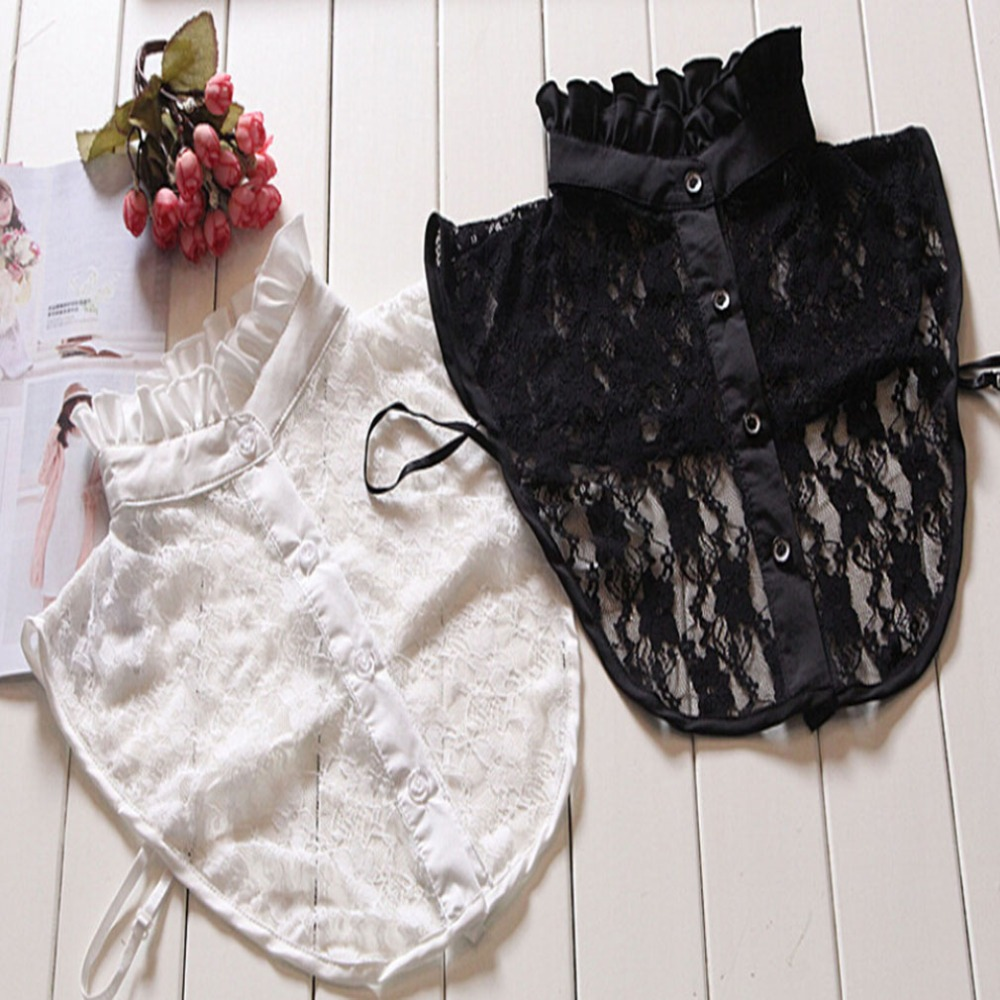High Quality Cute Lace White Cotton Detachable Collars False Collar Ladies Fake Collar Decorative Neck Tie Women Necktie Gift