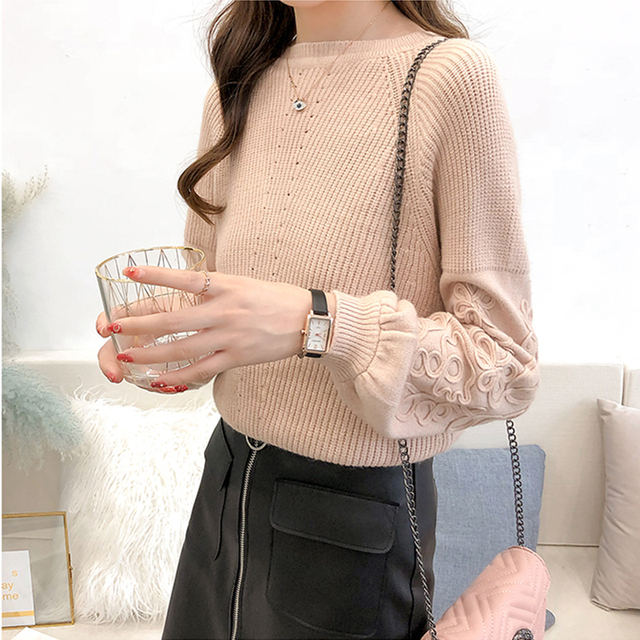 Ailegogo Womens Sweaters 2019 Autumn Winter Beaded Tops O Neck Women Soft Warm Pullover Jumper Knitted Sweater Knitwear 4