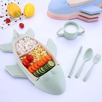 MeterMall Cute Cartoon Plane Shape Plate Cutlery Baby Feeding Compartment Tableware