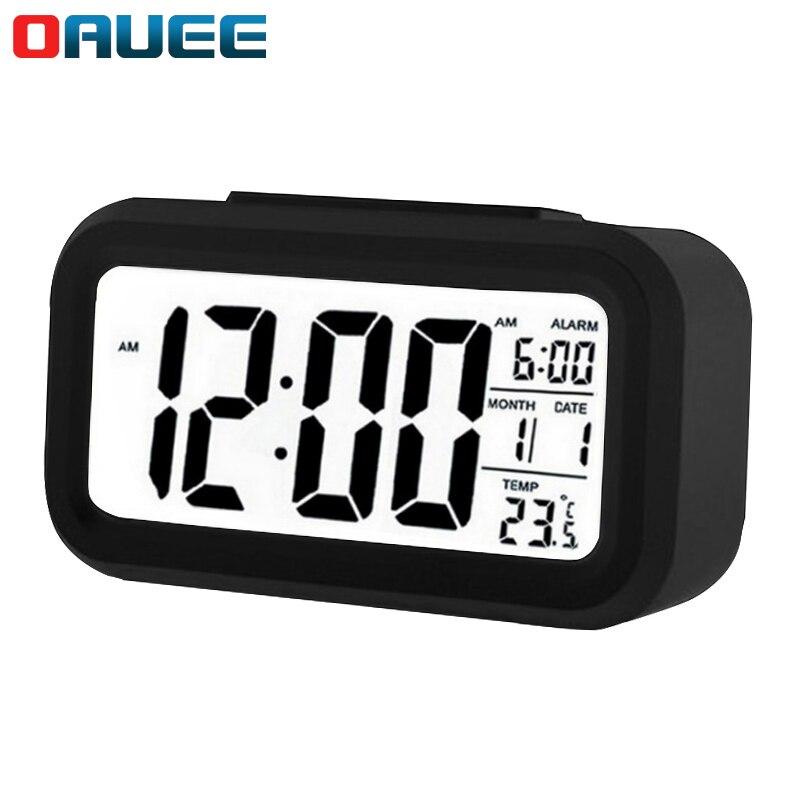LED Digital Alarm Clock Electronic Digital Alarm Screen Desktop Clock For Home Office Backlight Snooze Data Calendar Desk Clocks